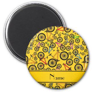 Personalized name yellow mountain bikes fridge magnets