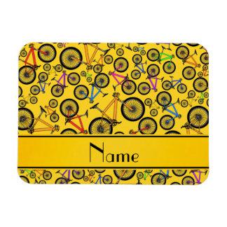 Personalized name yellow mountain bikes flexible magnets