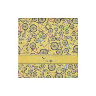 Personalized name yellow mountain bikes stone magnet