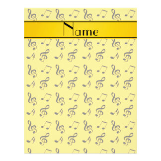 Personalized name yellow music notes 21.5 cm x 28 cm flyer