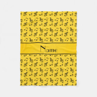 Personalized name yellow music notes fleece blanket