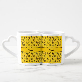 Personalized name yellow music notes couples mug