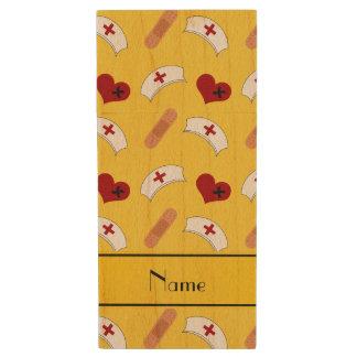 Personalized name yellow nurse pattern wood USB 2.0 flash drive
