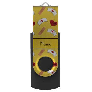 Personalized name yellow nurse pattern swivel USB 2.0 flash drive