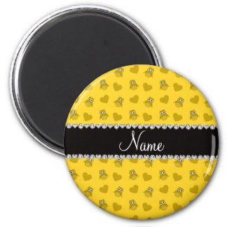 Personalized name yellow owl hearts magnets