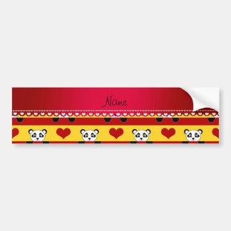 Personalized name yellow panda red heart stripes bumper sticker