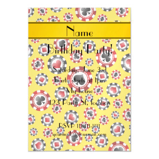 Personalized name yellow poker chips magnetic invitations