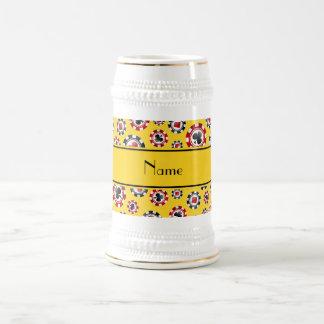 Personalized name yellow poker chips coffee mugs