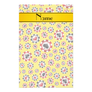 Personalized name yellow poker chips stationery
