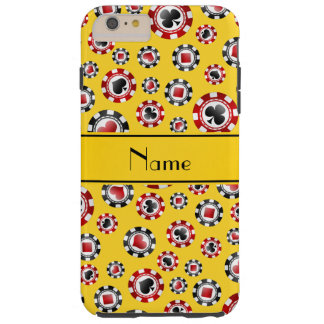 Personalized name yellow poker chips tough iPhone 6 plus case