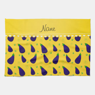 Personalized name yellow purple eggplants tea towel