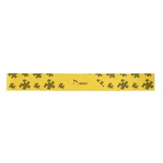 Personalized name yellow puzzle satin ribbon