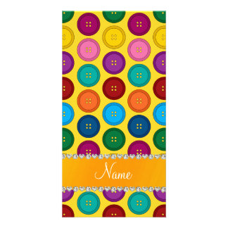 Personalized name yellow rainbow buttons pattern photo cards