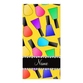 Personalized name yellow rainbow nail polish photo card