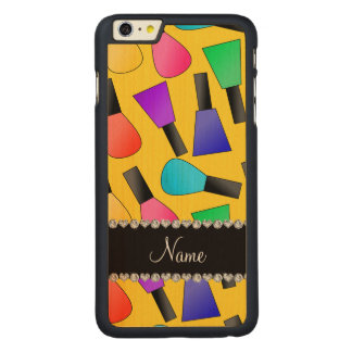 Personalized name yellow rainbow nail polish carved® maple iPhone 6 plus case