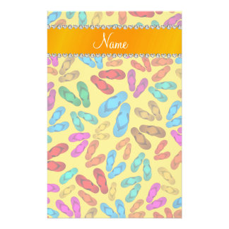 Personalized name yellow rainbow sandals stationery