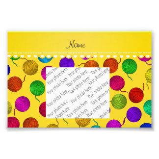Personalized name yellow rainbow yarn balls photo