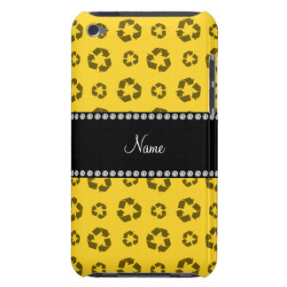 Personalized name yellow recycling pattern iPod touch cover