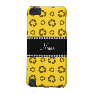 Personalized name yellow recycling pattern iPod touch 5G case