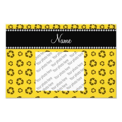 Personalized name yellow recycling pattern photo art