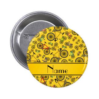Personalized name yellow road bikes 6 cm round badge