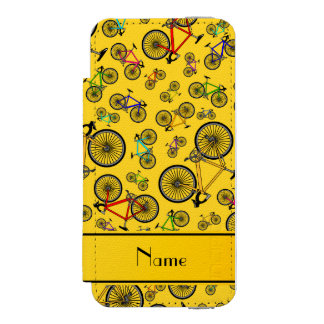 Personalized name yellow road bikes incipio watson™ iPhone 5 wallet case
