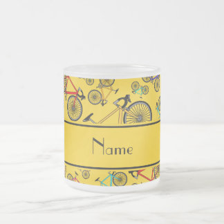 Personalized name yellow road bikes coffee mugs