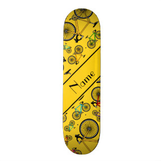 Personalized name yellow road bikes skateboard deck