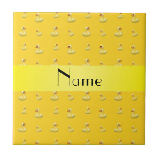 Personalized name yellow rubber duck pattern small square tile