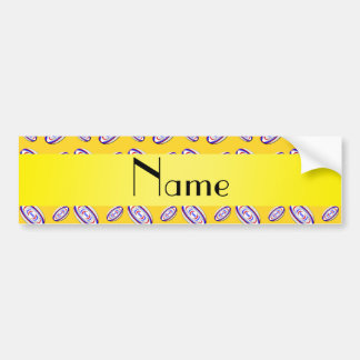 Personalized name yellow rugby balls bumper sticker
