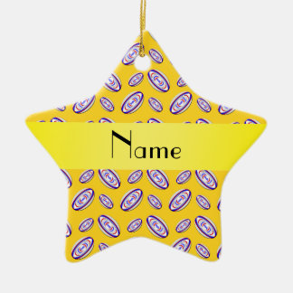 Personalized name yellow rugby balls christmas ornament
