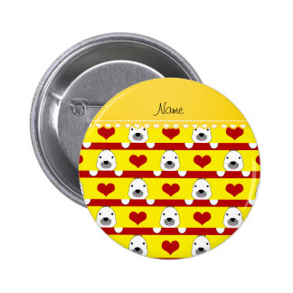 Personalized name yellow seals red hearts stripes 6 cm round badge