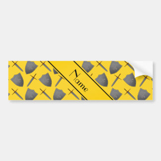 Personalized name yellow shields and swords bumper sticker