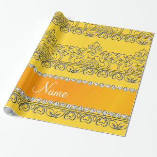 Personalized name yellow silver lace wrapping paper