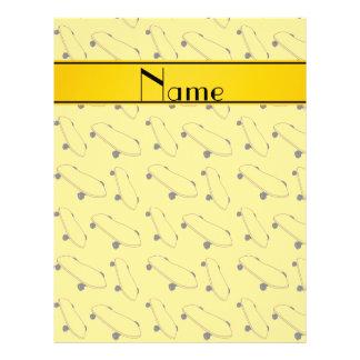 Personalized name yellow skateboard pattern 21.5 cm x 28 cm flyer