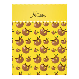 Personalized name yellow sloth pattern 21.5 cm x 28 cm flyer