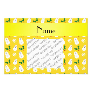Personalized name yellow snowman christmas photograph