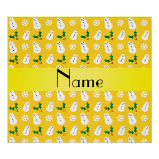 Personalized name yellow snowman christmas posters