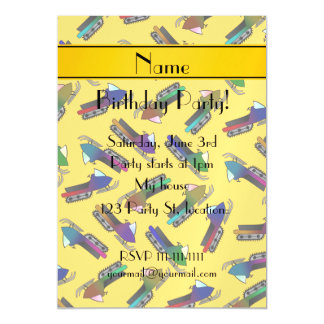 Personalized name yellow snowmobiles magnetic invitations
