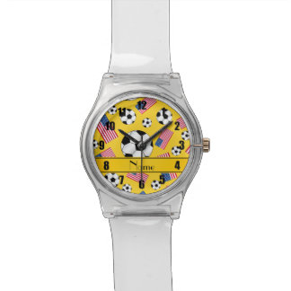 Personalized name yellow soccer american flag wrist watches
