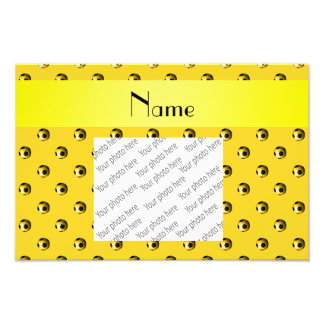 Personalized name yellow soccer balls photo art