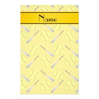 Personalized name yellow softball pattern stationery