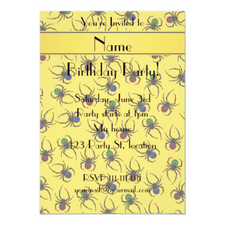 Personalized name yellow spiders 13 cm x 18 cm invitation card
