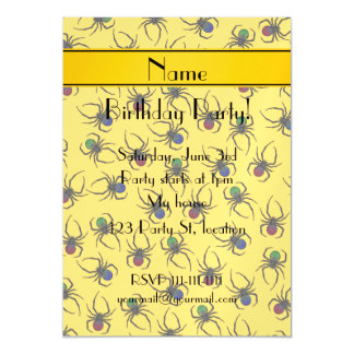 Personalized name yellow spiders magnetic invitations