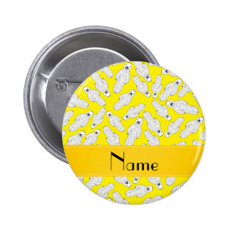 Personalized name yellow spotted seal 6 cm round badge