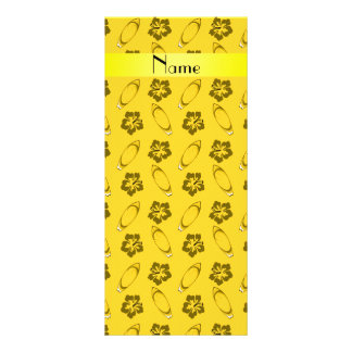 Personalized name yellow surfboard pattern customized rack card