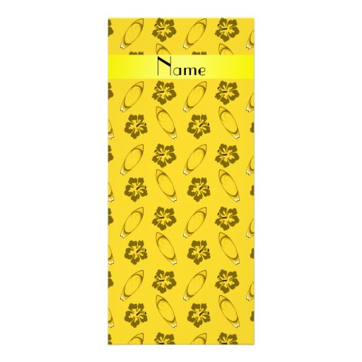 Personalized name yellow surfboard pattern custom rack cards