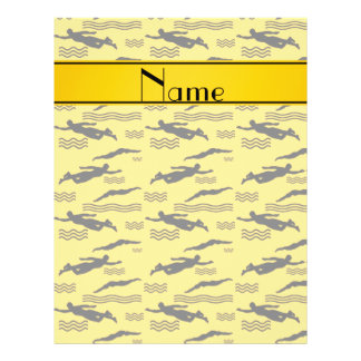 Personalized name yellow swimming pattern 21.5 cm x 28 cm flyer