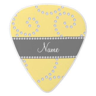 Personalized name yellow swirl diamonds white delrin guitar pick