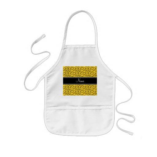 Personalized name yellow swirls aprons
